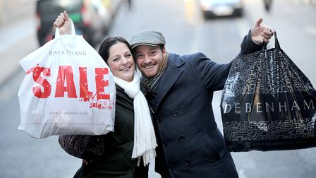 Happy shoppers will be out in force to get the latest deals ahead of the Christmas season. Picture: