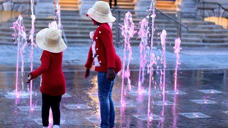 Hinna and Nadia are thrilled with the new fountain on the cornhill Picture: SARAH LUCY BROWN