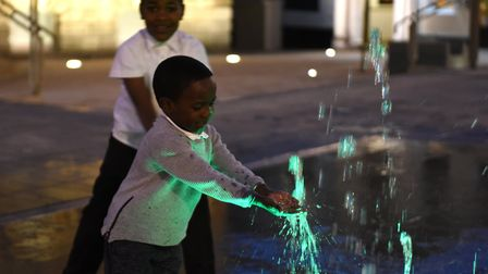 Children have a splash despite the cold weather Picture: SARAH LUCY BROWN