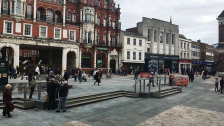 Saturday morning crowds enjoying the new-look Ipswich Cornhill. Picture: PAUL GEATER