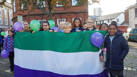 Purple and Green were themes that were throughout the walk. Picture: RACHEL EDGE