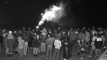 Gathering round the bonfire on Belmont Road Picture: IVAN SMITH