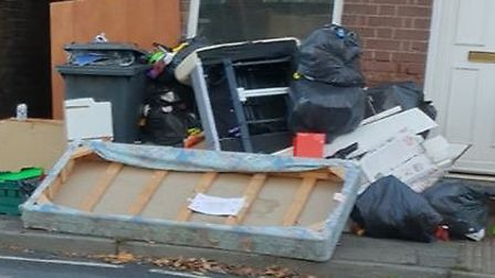 Fly-tipping on Chevallier Street Picture: CARL BRAME