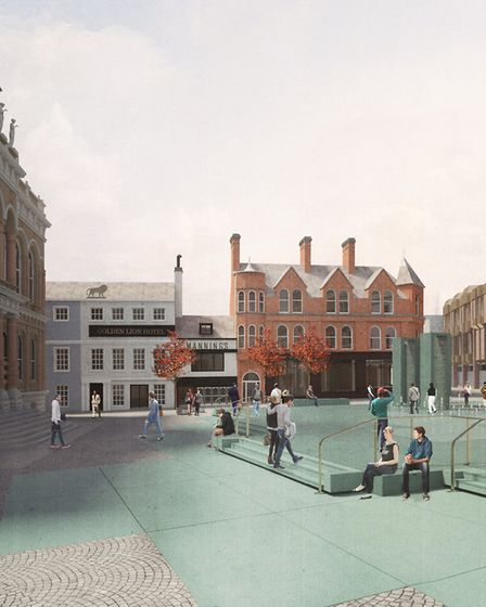 Architects' impression of the new look for Ipswich Cornhill. Picture: IPSWICH VISION