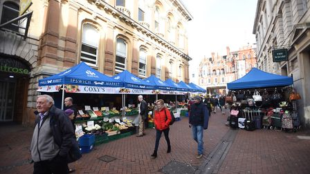 Ipswich market moved to Princes Street as work began on Cornhill. Picture: GREGG BROWN