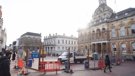 Work beginning at the Cornhill in Ipswich. Picture: GREGG BROWN
