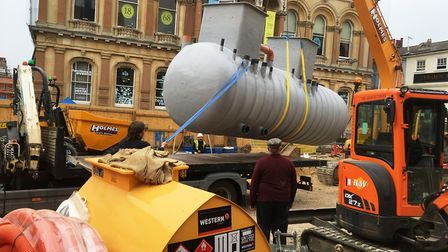 The tank for the water feature arrives on the Cornhill. Picture: PAUL GEATER
