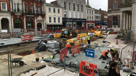 Rebuilding work at Ipswich Cornhill is nearing completion. Picture: PAUL GEATER