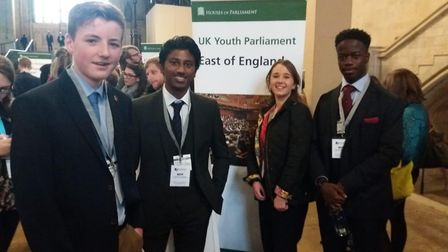 Isaac Codjoe (far right) raised the issue of knife crime in the House of Commons Picture: MADDIE PAW