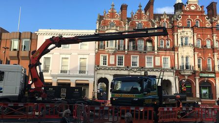 Part of the Four Gateways arrives at Ipswich Cornhill. Picture: PAUL GEATER