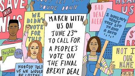 Campaigners will be marching for a People's Vote on Saturday 23rd June 2018. Illustration: Alice Ski