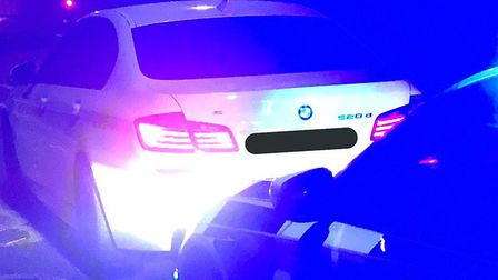 The BMW seized in Ipswich. Picture: NORFOLK AND SUFFOLK ROADS AND ARMED POLICING TEAM