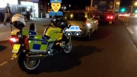 A car stopped in Ipswich after the driver was allegedly seen using a mobile phone Picture: NORFOLK A