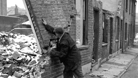 A hands on technique, as streets of small houses, close to the Ipswich town centre were demolished i