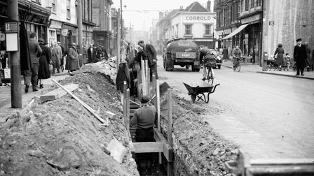 There was little to separate traffic and pedestrians in St Matthews Street, Ipswich, in February 195
