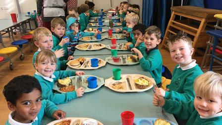 Reception tucking into their lunch during National School Meals week Picture: MEGAN ALDOUS