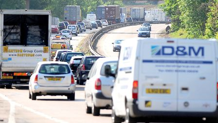 The A14 between the Copdock interchange and the westbound slip road to Sproughton is full of slow or