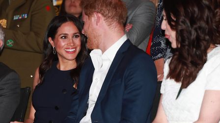 (left to right) The Duke and Duchess of Sussex at a reception at the Auckland War Memorial Museum, N