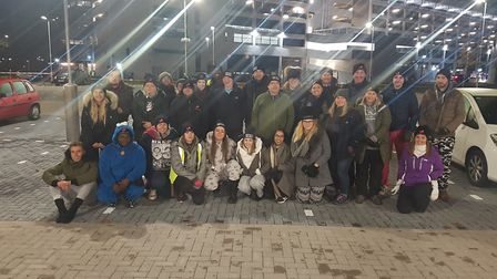 Around 30 people turned up to brave the elements and sleep outside. Picture: WILL JEFFORD