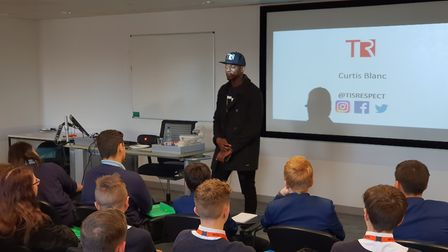 Curtis Blanc speaks to students at the 'Making Good Choices' conferences Picture: ADAM HOWLETT