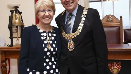 Felixstowe mayor Graham Newman with his wife Janet, the mayoress Picture: CHRIS CARNE