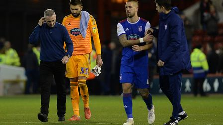 Ipswich Manager Paul Lambert, Bartosz Bialkowski and Luke Chambers after the 2-0 defeat to Forest at