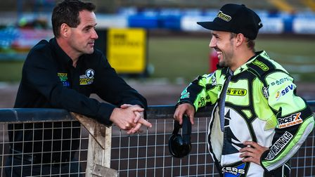 Chris Louis chats with skipper Danny King at Foxhall. It would be a major surprise if King wasn't ba
