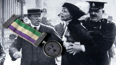 The 'Imprisonment Medal' awarded to Emmeline Pankhurst (Helen's great-grandmother) by the Women's So