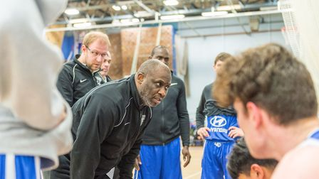 Ipswich coach John Ellis urges his players on in a time out. Picture: PAVEL KRICKA