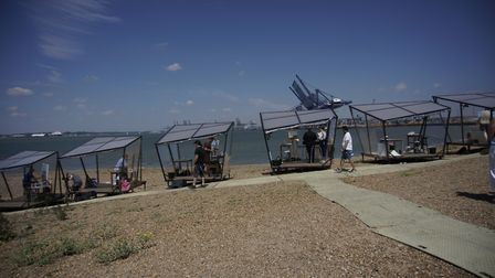Filming on Felixstowe beach for the Sky Arts Landscape Artist of the Year semi final Picture: JIM HO