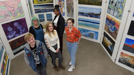 Students from Suffolk One College at their display at Sailmakers Shopping Centre, from left, Zach Pl