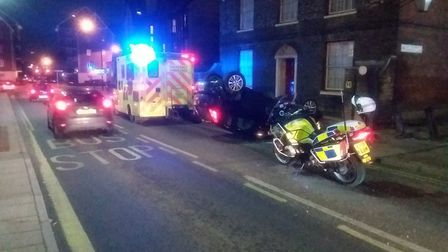The crash happened on Grimwade Street, part of Ipswich's one-way system Picture: NSRAPT