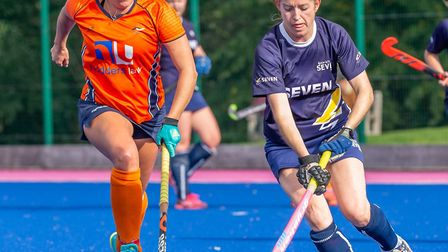 Kat Blake, right, was Ipswich's best player in defeat against Horsham. Picture: CHRIS HOBSON