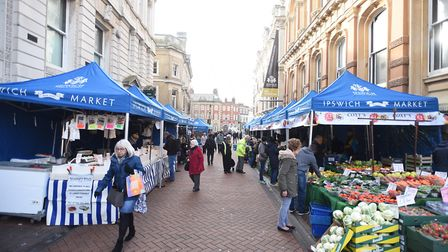Ipswich market has moved to Princes Street after work began on the Cornhill. Picture: GREGG BROWN