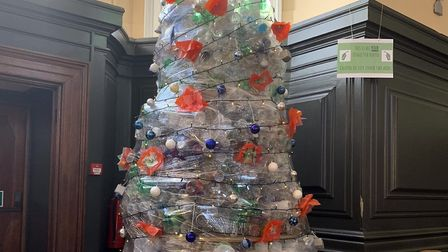 The plastic Christmas tree which has been created by the school Picture: THE ROYAL HOSPITAL SCHOOL