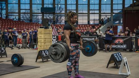 Andrea Thompson, from Melton, takes on the deadlift ladder Picture: SCOTT LLOYD PHOTOGRAPHY