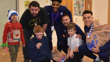 Ipswich Town players visited The Treehouse Hospice in Ipswich to give presents to the children Pict