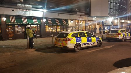 Police attended the scene outside Nando's Picture: WILL JEFFORD