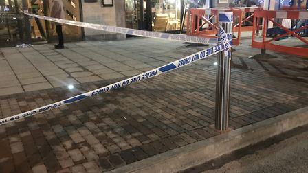 Police at the scene outside Nando's, in Cardinal Park Picture: ARCHANT
