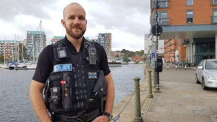 PC Jon Harvey recognised for rescuing woman from the water in Ipswich's waterfront Picture: RACHEL E