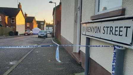Kenyon Street in Ipswich is still sealed off by police after the death of a man yesterday afternoon