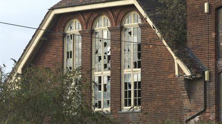 Smashed windows at the Cliff Quay Brewery, Ipswich. Picture: DAVID KINDRED