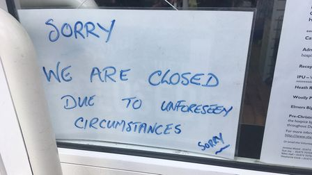 A sign put up in the window of thecharity shop Picture: ARCHANT