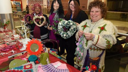 Crafty crafters at Sailmakers Shopping Centre - Ida Thomas, left, Christine Old, Sue Lawrence and He