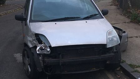 The silver Ford Fiesta lost its bumper in the collision Picture: ARCHANT