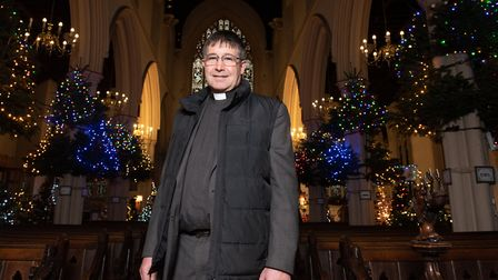 Reverend Canon Charles Jenking is overjoyed with the Christmas tree festival Picture: SARAH LUCY B