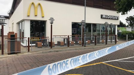 Police at the scene at Ravenswood Avenue McDonalds Picture: ARCHANT
