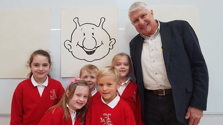 Nick Butterworth with pupils of Otley Primary. Picture: RACHEL EDGE
