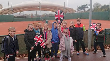 Children from Bramford Tennis Clubhave a look around the outdoor lay courts Picture: CARL DOUGLAS