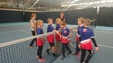 The children got to play a few games on the centre's courts Picture: CARL DOUGLAS